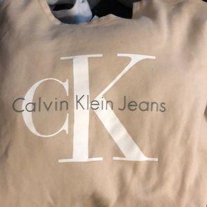 Tops - Calvin Klein nude raw hem crew neck